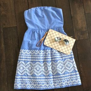 J Crew • Blue strapless dress & white embroidery